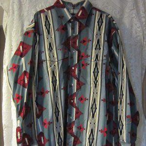 Wrangler Aztec Southwestern  Pearl Snap Shirt XLT